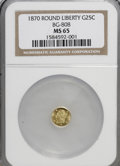 California Fractional Gold: , 1870 25C Liberty Round 25 Cents, BG-808, R.3, MS65 NGC. NGC Census:(7/6). PCGS Population (44/10). (#10669)...