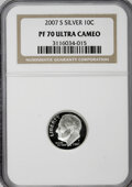Proof Roosevelt Dimes, 2007-S 10C Silver PR70 Ultra Cameo NGC. PCGS Population (115/0).(#149529)...