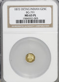 California Fractional Gold: , 1872 25C Indian Octagonal 25 Cents, BG-791, R.3, MS65 ProoflikeNGC. NGC Census: (11/5). (#710618)...