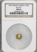California Fractional Gold: , 1873 25C Liberty Round 25 Cents, BG-817, R.3, MS65 NGC. NGC Census:(5/3). PCGS Population (17/2). (#10678)...