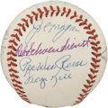 Autographs:Bats, 1992 Hall of Fame Induction Multi-Signed Baseball....