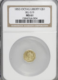 California Fractional Gold: , 1853 $1 Liberty Octagonal 1 Dollar, BG-519, Low R.4, MS61 NGC. NGCCensus: (2/5). PCGS Population (4/36). (#10496)...