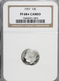 Proof Roosevelt Dimes, 1957 10C PR68 ★ Cameo NGC. NGC Census: (184/91). PCGS Population(137/10). Numismedia Wsl...