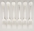 Silver Flatware, American:Tiffany, A SET OF SIX AMERICAN SILVER LUNCHEON FORKS. Tiffany & Co., NewYork, New York, circa 1870. Marks: TIFFANY & CO.,STERLING... (Total: 6 Items)