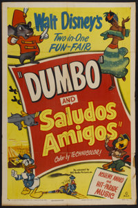 """Dumbo/Saludos Amigos Combo (RKO, R-1949). One Sheet (27"""" X 40.5"""") Style A. Animated"""