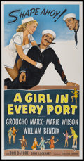 """Movie Posters:Comedy, A Girl in Every Port (RKO, 1952). Three Sheet (41"""" X 81""""). Comedy...."""
