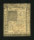 Colonial Notes:Delaware, Delaware January 1, 1776 5s Extremely Fine-About New....