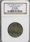 Colonials: , 1787 1C Massachusetts Cent, Horned Eagle VF25 NGC. NGC Census:(0/0). PCGS Population (3/42). (#305)...