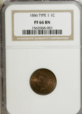 Proof Indian Cents: , 1886 1C Type One PR66 Brown NGC. NGC Census: (28/8). PCGS Population (12/5). Mintage: 4,290. Numismedia Wsl. Price for NGC/...