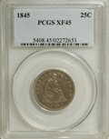 Seated Quarters: , 1845 25C XF45 PCGS. PCGS Population (3/58). NGC Census: (2/81).Mintage: 922,000. Numismedia Wsl. Price for NGC/PCGS coin i...