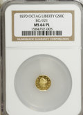 California Fractional Gold, 1870 50C Liberty Octagonal 50 Cents, BG-921, Low R.5, MS64Prooflike NGC....