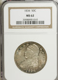 Bust Half Dollars, 1834 50C Large Date, Small Letters MS62 NGC....