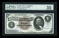 Large Size:Silver Certificates, Fr. 263 $5 1886 Silver Certificate PMG About Uncirculated 55....