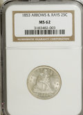 Seated Quarters, 1853 25C Arrows and Rays MS62 NGC....