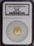 California Fractional Gold: , 1873/2 $1 Indian Octagonal 1 Dollar, BG-1122, High R.6, AU58 NGC.NGC Census: (4/0). PCGS Population (2/7). (#10933)...