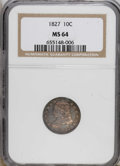 Bust Dimes: , 1827 10C MS64 NGC. NGC Census: (43/29). PCGS Population (43/9).Mintage: 1,300,000. Numismedia Wsl. Price for NGC/PCGS coin...