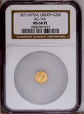 California Fractional Gold: , 1871 25C Liberty Octagonal 25 Cents, BG-765, R.3, MS64 ProoflikeNGC. NGC Census: (1/1). PCGS Population (24/4). (#10592)...