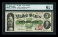Large Size:Legal Tender Notes, Fr. 61a $5 1862 Legal Tender PMG Gem Uncirculated 65 EPQ....