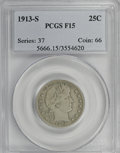 Barber Quarters: , 1913-S 25C F15 PCGS. PCGS Population (12/95). NGC Census: (0/46).Mintage: 40,000. Numismedia Wsl. Price for NGC/PCGS coin ...