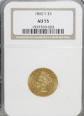 Three Dollar Gold Pieces: , 1860-S $3 AU55 NGC. NGC Census: (14/23). PCGS Population (9/7).Mintage: 7,000. Numismedia Wsl. Price for NGC/PCGS coin in ...
