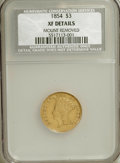 Three Dollar Gold Pieces: , 1854 $3 --Mount Removed--NCS. XF40 Details. NGC Census: (48/2929). PCGS Population (67/2120). Mintage: 138,618. Numismedia W...