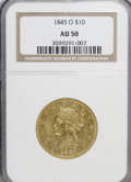 Liberty Eagles: , 1845-O $10 AU50 NGC. NGC Census: (23/101). PCGS Population (25/20).Mintage: 47,500. Numismedia Wsl. Price for NGC/PCGS coi...