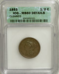 Half Cents, 1853 1/2 C Brown--Cleaned--ICG. MS60 Details. NGC Census: (2/563).PCGS Population (7/324). Mintage: 129,694. Numismedia W...
