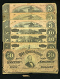 Confederate Notes:Group Lots, One Hundred Five Dollars Face in 1864 CSA Notes.. ...