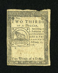 Colonial Notes:Continental Congress Issues, Continental Currency February 17, 1776 $2/3 Extremely Fine-AboutNew....