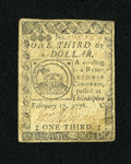 Colonial Notes:Continental Congress Issues, Continental Currency February 17, 1776 $1/3 Very Fine....