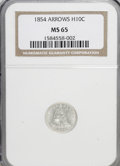 Seated Half Dimes: , 1854 H10C Arrows MS65 NGC. NGC Census: (54/19). PCGS Population(35/9). Mintage: 5,740,000. Numismedia Wsl. Price for NGC/P...