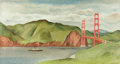 Fine Art - Painting, American:Modern  (1900 1949)  , FELICIE HOWELL MIXTER (American, 1897-1968). Golden Gate Bridge,San Francisco. Oil on canvas. 16-1/4 x 30 inches (41.3 ...