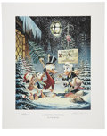 "Original Comic Art:Miscellaneous, Carl Barks - ""A Christmas Trimming"" Miniature Lithograph LimitedEdition Print #238/595 (Another Rainbow, 1999).... (Total: 2 Items)"