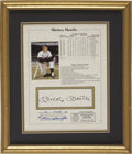 Autographs:Others, Mickey Mantle Signed Stat Page....
