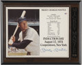 Autographs:Others, Mickey Mantle Signed plaque commemorating his induction to the Baseball Hall of Fame....