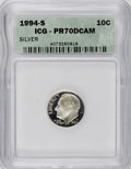 Proof Roosevelt Dimes: , 1994-S 10C Silver PR70 Deep Cameo ICG. NGC Census: (112/0). PCGSPopulation (38/0). Numismedia Wsl. Price for NGC/PCGS coi...