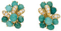 Estate Jewelry:Earrings, Turquoise, Diamond, Gold Earrings, Neiman Marcus. ... (Total: 2Items)