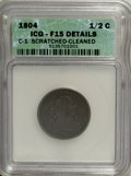 1804 1/2 C Crosslet 4, Stems--Cleaned, Scratched--ICG. Fine 15 Details.C-1 NGC Census: (0/0). PCGS Population (8/129)...