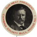 Political:Pinback Buttons (1896-present), Theodore Roosevelt: One of the Very Best 1912 TR Bull Moose ButtonVarieties....