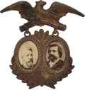 Political:Ferrotypes / Photo Badges (pre-1896), Blaine & Logan: 1884 Jugate Badge....