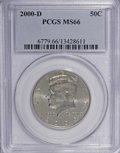 Kennedy Half Dollars: , 2000-D 50C MS66 PCGS. PCGS Population (121/0). NGC Census:(126/42). Numismedia Wsl. Price for NGC/PCGS coin in MS66: $23....