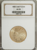 Indian Eagles: , 1908-D $10 Motto AU53 NGC. NGC Census: (6/418). PCGS Population(19/357). Mintage: 836,500. Numismedia Wsl. Price for NGC/P...