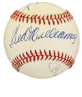Autographs:Baseballs, Baseball Hall of Famers Multi-Signed Baseball with Mantle andWilliams....