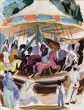 Paintings, MARGARET BRUTON (American, 1894-1983). Carousel with Red Horse in New Mexico. Mixed media on paper. 10-3/4 x 8-1/4 inche...
