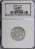 Seated Quarters: , 1845 25C AU55 NGC. NGC Census: (5/69). PCGS Population (5/44).Mintage: 922,000. Numismedia Wsl. Price for NGC/PCGS coin in...