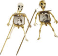 Political:Small Miscellaneous (1896-present), Bryan and McKinley: Choice Pair of Rare Mechanical Skeleton Stickpins.... (Total: 2 Items)