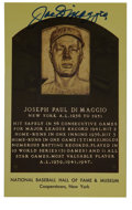 Autographs:Post Cards, Joe DiMaggio Signed Gold Hall of Fame Plaque....