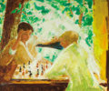 Texas:Early Texas Art - Modernists, DONALD STANLEY VOGEL (American, 1917-2004). Chess Players,1974. Oil on canvas. 40 x 48 inches (101.6 x 121.9 cm). Signe...