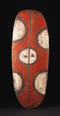Mendi Valley (Papua-New Guinea) War Shield (Wörrumbi) Wood, pigment, vine Height: 54 ½ inches Width: 21 inch...