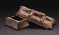 African: , Kuba (Democratic Republic of Congo). Covered Box with LizardHandle. Wood, camwood. Total Height: 4 7/8 inches Max. Width:...